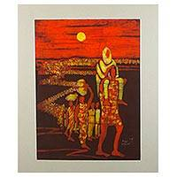 Batik painting, 'Sunset Exodus' - Signed Batik on Cotton Painting of Migrants from Ghana