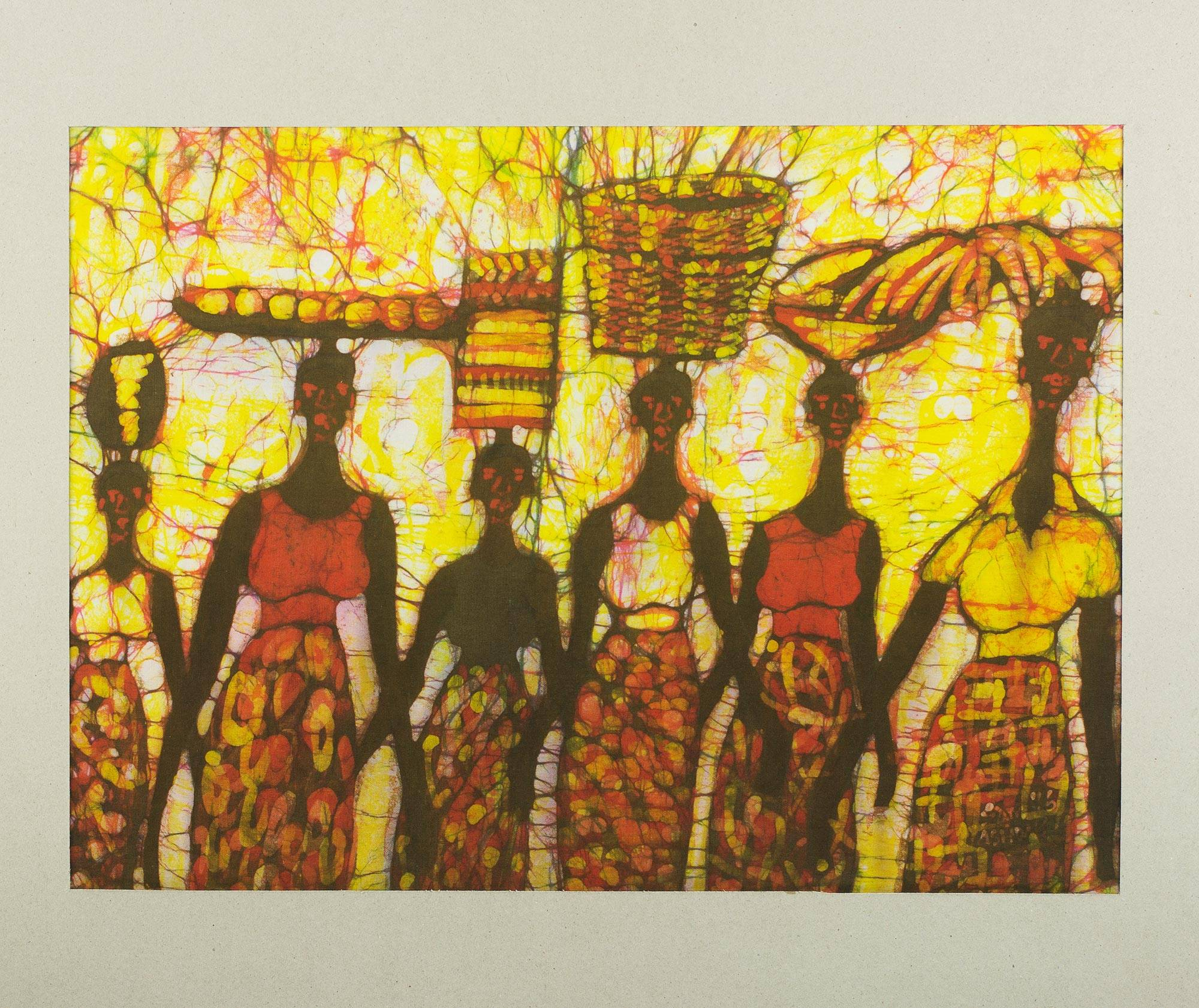 Signed Batik Painting of Marketgoers from Ghana - Early Morning ...