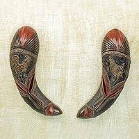 African wood masks, 'Chicken Reflection' (pair) - Pair of African Wood Chicken Masks in Red and Brown