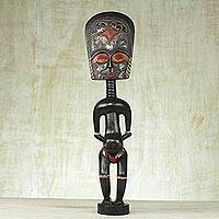 Wood sculpture, 'African Mother' - Handcrafted Sese Wood Sculpture from Ghana