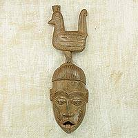 African wood mask, 'Rooster Friend' - Handcrafted Sese Wood Wall Mask from Ghana