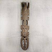 African wood mask, 'Powerful Friends' - Handcrafted Sese Wood African Wall Mask from Ghana