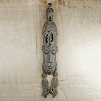 African wood mask, 'Supreme Deity' - Hand Carved Sese Wood Bird Wall Mask from Ghana