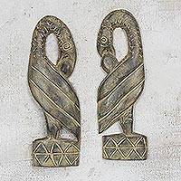 Wood wall accents, 'Returning' (pair) - Handcrafted Sese Wood Bird Wall Hanging Pair from Ghana
