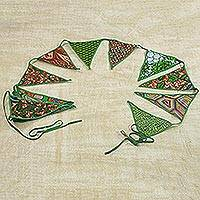 Cotton bunting, 'African Patterns in Emerald' - Cotton Bunting in Emerald with African Motifs from Ghana