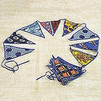 Cotton bunting, 'African Patterns in Royal Blue' - Cotton Bunting in Blue with African Motifs from Ghana