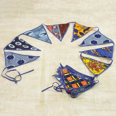 Cotton Bunting in Blue with African Motifs from Ghana, 'African Patterns in  Royal Blue'