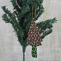 Cotton ornament, 'Delightful Christmas' - Cotton Green and Red Fabric Christmas Tree Holiday Ornament