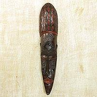 African wood mask, 'Fang Harvest' - Handcrafted African Sese Wood Mask from Ghana