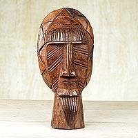 African wood mask, 'Mursi Face' - Handcrafted Brown Sese Wood African Mask from Ghana