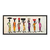 Batik painting, 'African Traders' - Signed Batik Painting of Market Women from Ghana