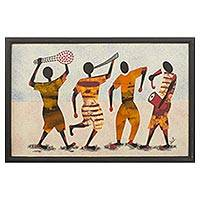 Cotton batik wall art, 'Festival Revelers' - Signed Batik Painting of African Musicians from Ghana