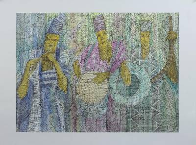 'Musical Trio' - Signed Modern Painting of a Musician Group from Ghana