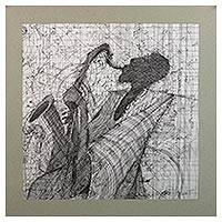'Saxophonist' - Signed Modern Painting of a Saxophone Player from Ghana