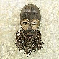 African wood mask, 'Sacred Dan' - Hand Carved Sese Wood and Jute West African Wall Mask