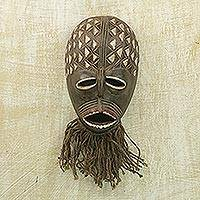 African wood mask, 'Protective Dan' - Hand Carved Sese Wood and Jute West African Wall Mask