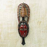 African wood mask, 'Tribal Peacock' - Hand Carved Sese Wood Wall Mask with Peacock from Ghana