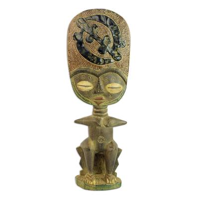 African Handcarved Wood Fertility Doll with Gye Nyame Symbol