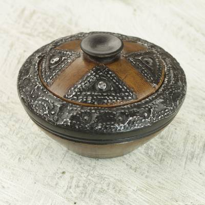 Wood decorative bowl, 'African Luxury' - Hand Carved Sese Wood Decorative Bowl and Lid from Ghana