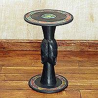 Wood accent table, 'Three Faces' - Handcrafted Sese Wood Accent Table with Recycled Beads