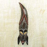 African wood mask, 'Crocodile Tail' - Handcrafted Sese Wood and Aluminum African Mask from Ghana