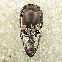 African wood mask, 'Opanyin Man' - Handcrafted Colorful Sese Wood African Mask from Ghana