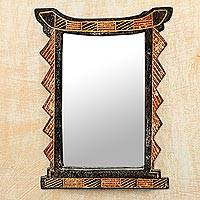 Wood wall mirror, 'Geometric Ghana' - Handcrafted Sese Wood Geometric Wall Mirror from Ghana
