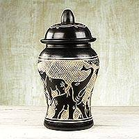 Wood decorative jar, 'Kingdom of Elephants' - Sese Wood Decorative Jar with Elephant Designs from Ghana