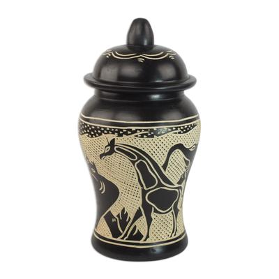Wood decorative jar, 'Kingdom of Elephants' - Sese Wood Decorative Jar with Elephant Designs from Ghana