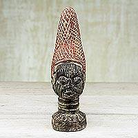 Wood sculpture, 'Mother of Benin in Red' - Handcrafted Sese Wood Bust Sculpture from Ghana