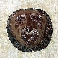 Wood mask, 'King of Lions' - Handcrafted Sese Wood Lion Wall Mask from Ghana
