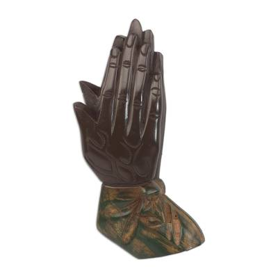 Wood wall sculpture, 'Let Us Pray' - Handcrafted Sese Wood Wall Sculpture of Hands from Ghana