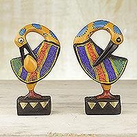 Wood sculptures, 'Colorful Sankofa' (pair) - Two Wood and Recycled Glass Adinkra Sankofa Bird Sculptures