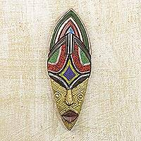African beaded wood mask, 'Giving Siphesihle' - Wood Recycled Glass and Brass African Mask from Ghana