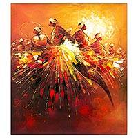 'Victory At Last I' - Signed Expressionist Painting of Dancers from Ghana