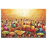 'Productivity I' - Signed Impressionist Painting of Market Scene from Ghana
