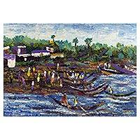 'Elmina Fishing Port' - Signed Impressionist African Sea Shore Landscape