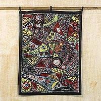 Batik cotton wall hanging, 'Our Customs' - Batik Cotton Wall Hanging with Cultural Motifs from Ghana
