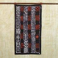 Batik cotton wall hanging, 'Parading Art' - Handmade Batik Cotton Wall Hanging Architecture from Africa