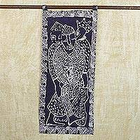 Batik cotton wall hanging, 'Ghanaian Heritage' - Cultural Batik Cotton Wall Hanging in Cobalt from Ghana