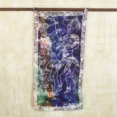 Batik cotton wall hanging, 'Masquerade in the Shrine' - Signed Cultural Batik Cotton Wall Hanging from Ghana