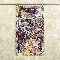Batik cotton wall hanging, 'Forest Goddess' - Multicolored Batik Cotton Wall Hanging from Ghana