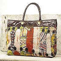 Leather accent batik linen tote bag, 'Cultural Gathering'