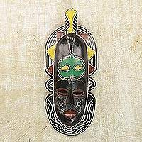 African wood mask, 'Teller of Time' - Handcrafted Sese Wood Wall Mask from Ghana