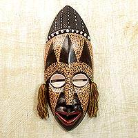 African wood mask, 'Calm and Patient' - Handcrafted Sese Wood Wall Mask from Ghana