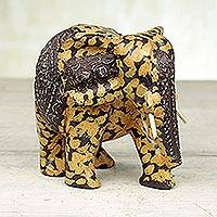 Wood statuette, 'Spotted Elphant' - Handcrafted Wood and Aluminum Elephant Statuette from Ghana