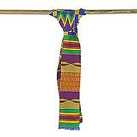 Cotton blend kente cloth scarf, 'Fathia Beauty' (4 inch width)