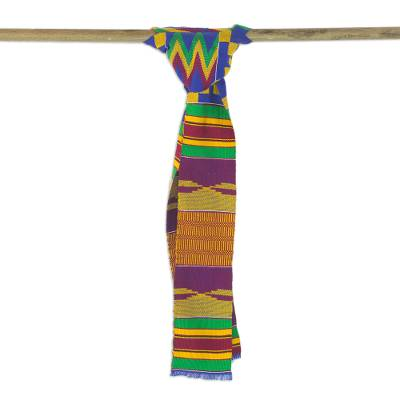 Cotton blend kente cloth scarf, 'Fathia Beauty' (4 inch width) - Handwoven Cotton Blend Kente Cloth Scarf (4 Inch Width)