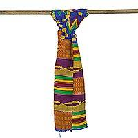Cotton blend kente cloth scarf, 'Fathia Beauty' (9 inch width)