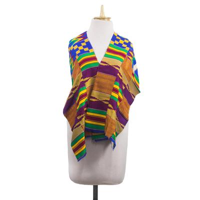 Cotton blend kente cloth shawl, 'Fathia Beauty' (13 inch width) - Handwoven Cotton Blend Kente Cloth Shawl (13 Inch Width)
